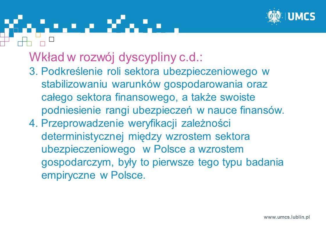 Wkład w rozwój dyscypliny c.d.: