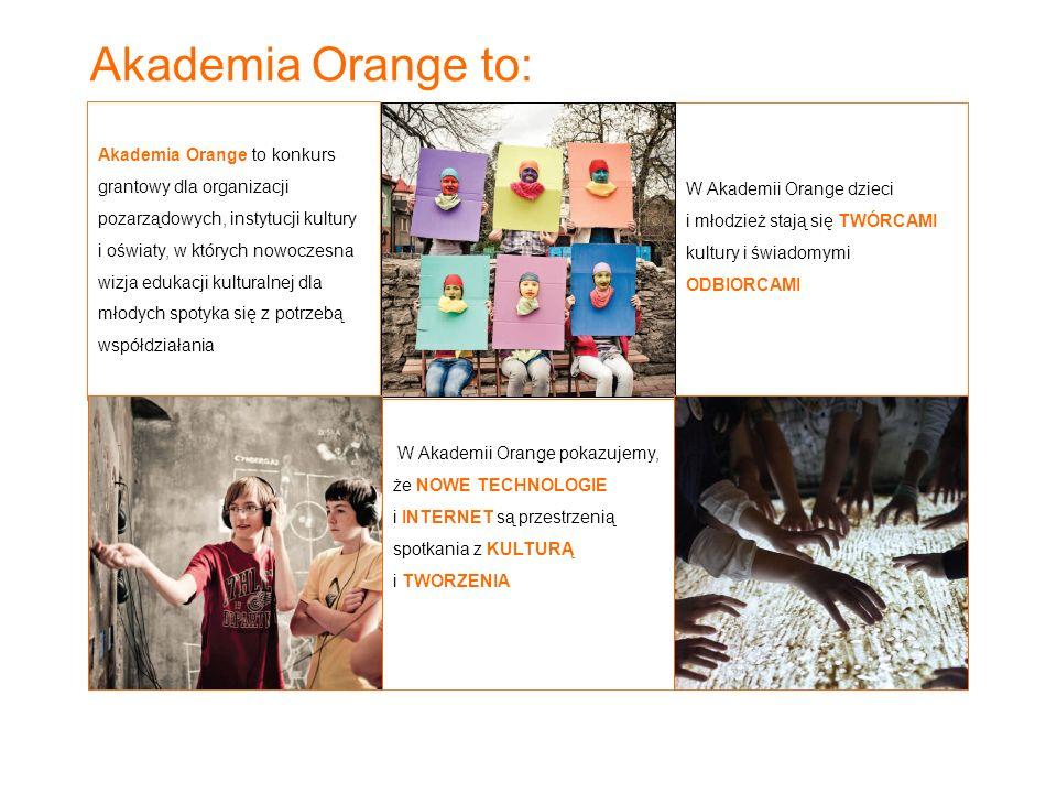 Akademia Orange to:W Akademii Orange pokazujemy, że NOWE TECHNOLOGIE i INTERNET są przestrzenią spotkania z KULTURĄ i TWORZENIA.