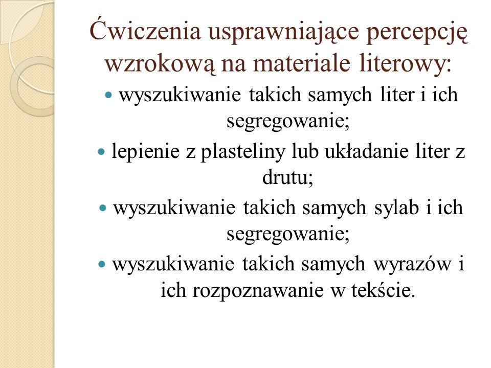 Ćwiczenia usprawniające percepcję wzrokową na materiale literowy: