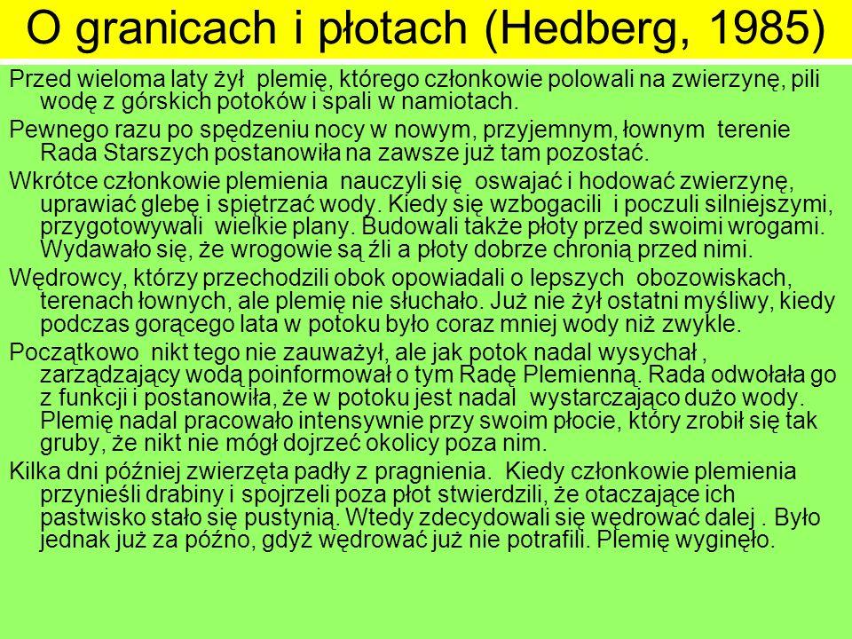O granicach i płotach (Hedberg, 1985)