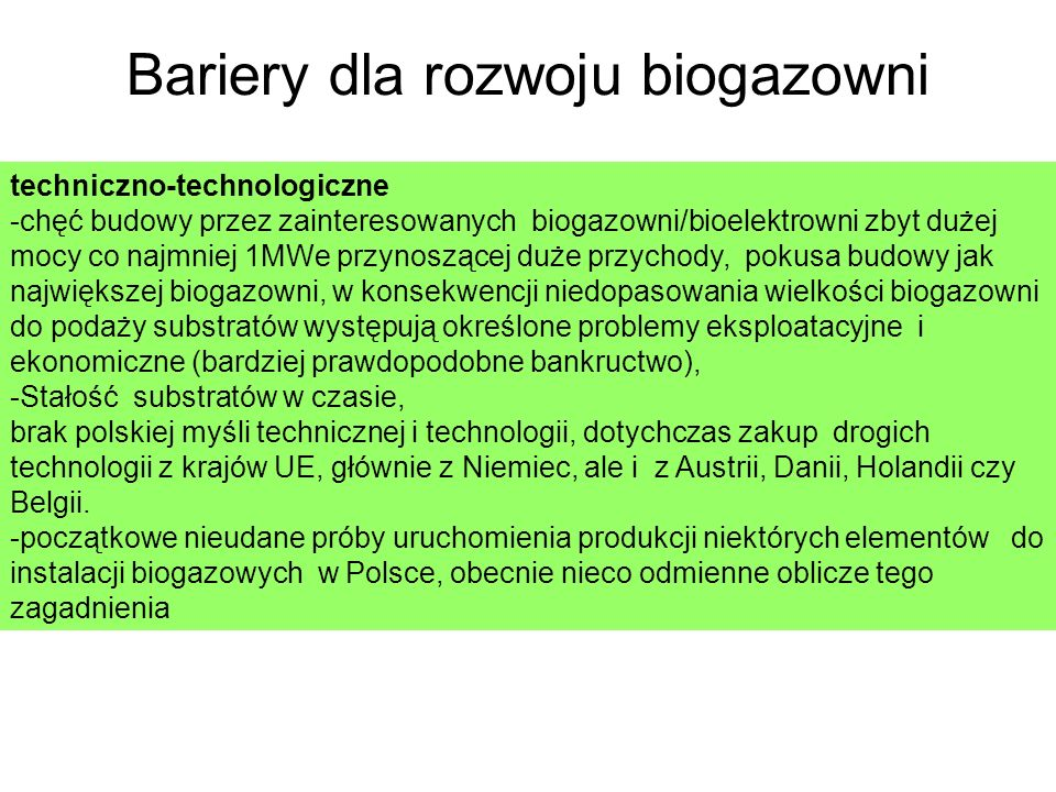 Bariery dla rozwoju biogazowni