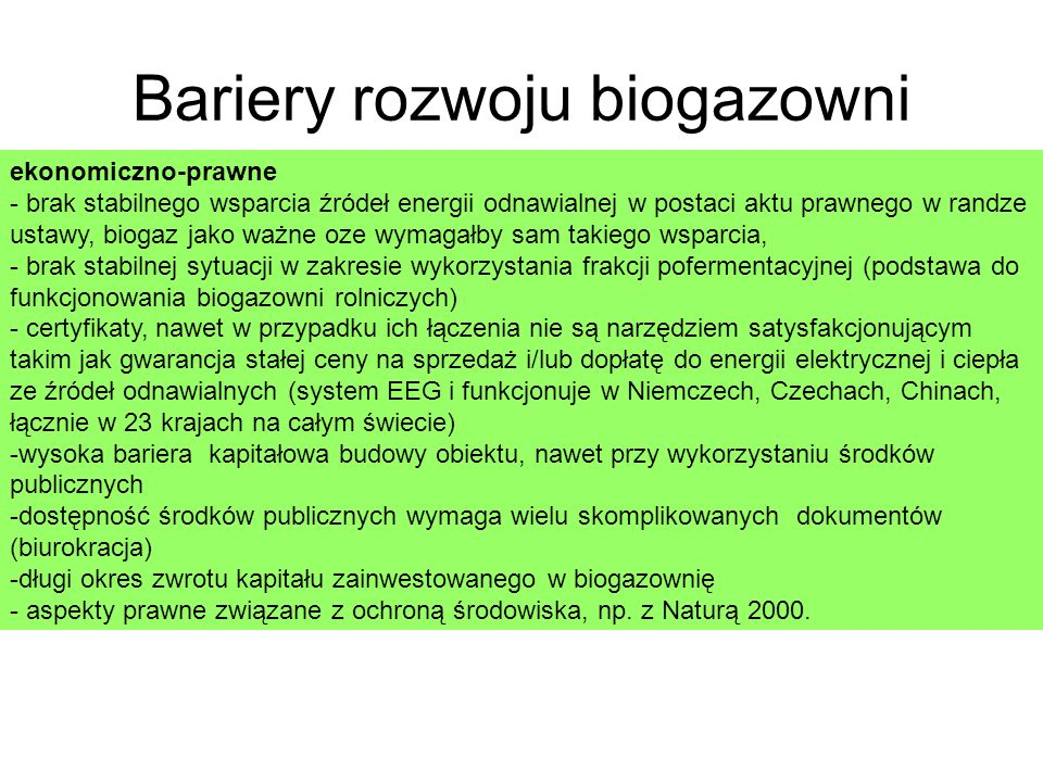Bariery rozwoju biogazowni