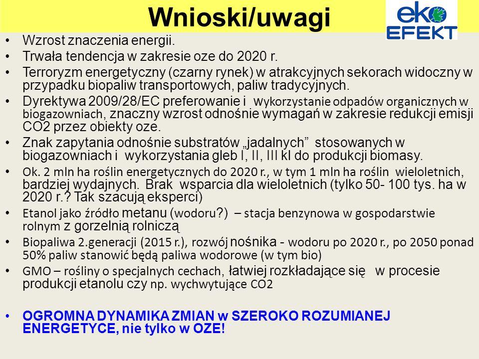 Wnioski/uwagi Wzrost znaczenia energii.