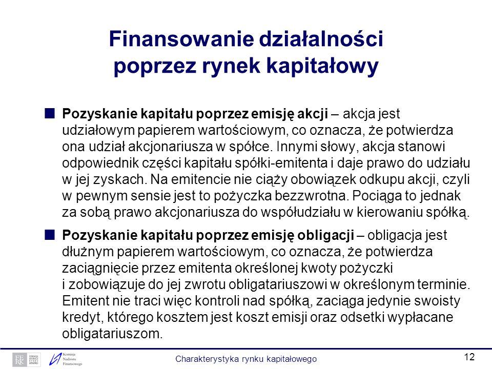 Finansowanie działalności poprzez rynek kapitałowy