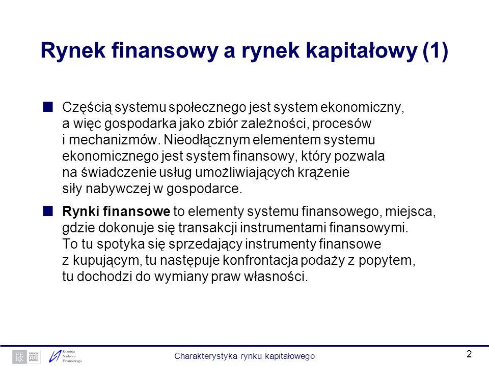 Rynek finansowy a rynek kapitałowy (1)