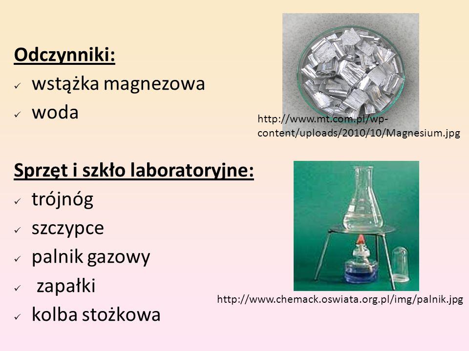 Sprzęt i szkło laboratoryjne: trójnóg szczypce palnik gazowy zapałki
