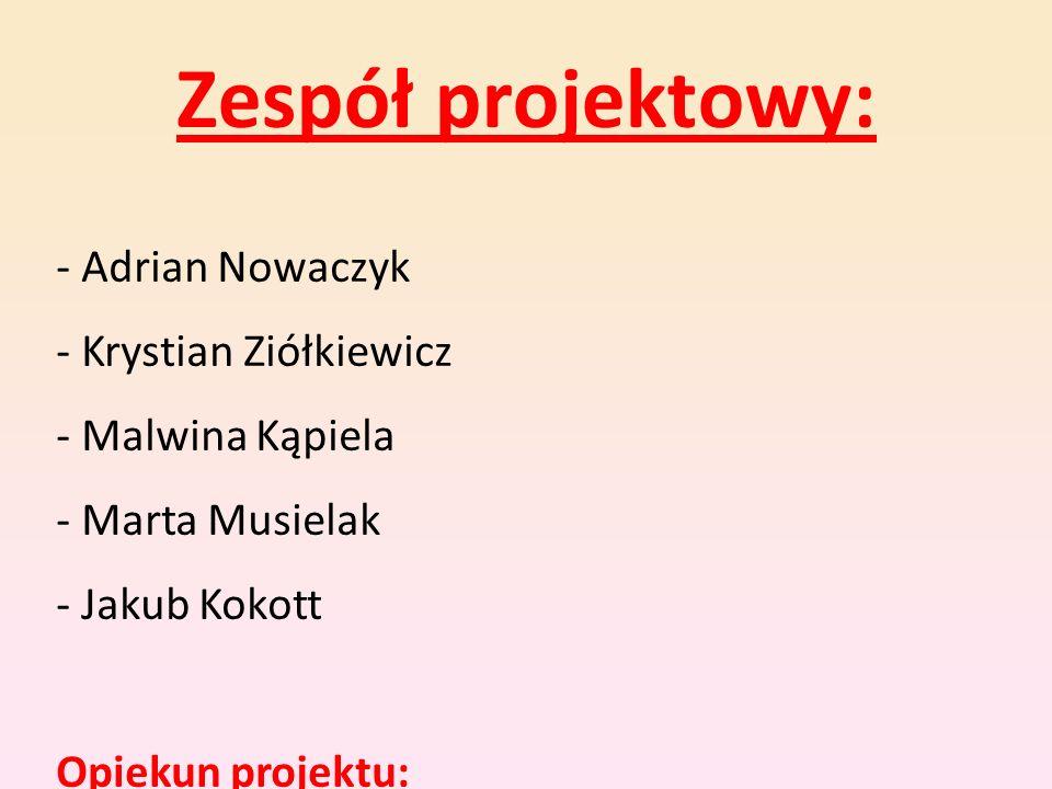Zespół projektowy: - Adrian Nowaczyk - Krystian Ziółkiewicz - Malwina Kąpiela - Marta Musielak - Jakub Kokott.