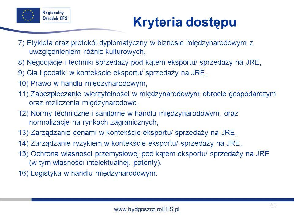 Kryteria dostępu 7) Etykieta oraz protokół dyplomatyczny w biznesie międzynarodowym z uwzględnieniem różnic kulturowych,
