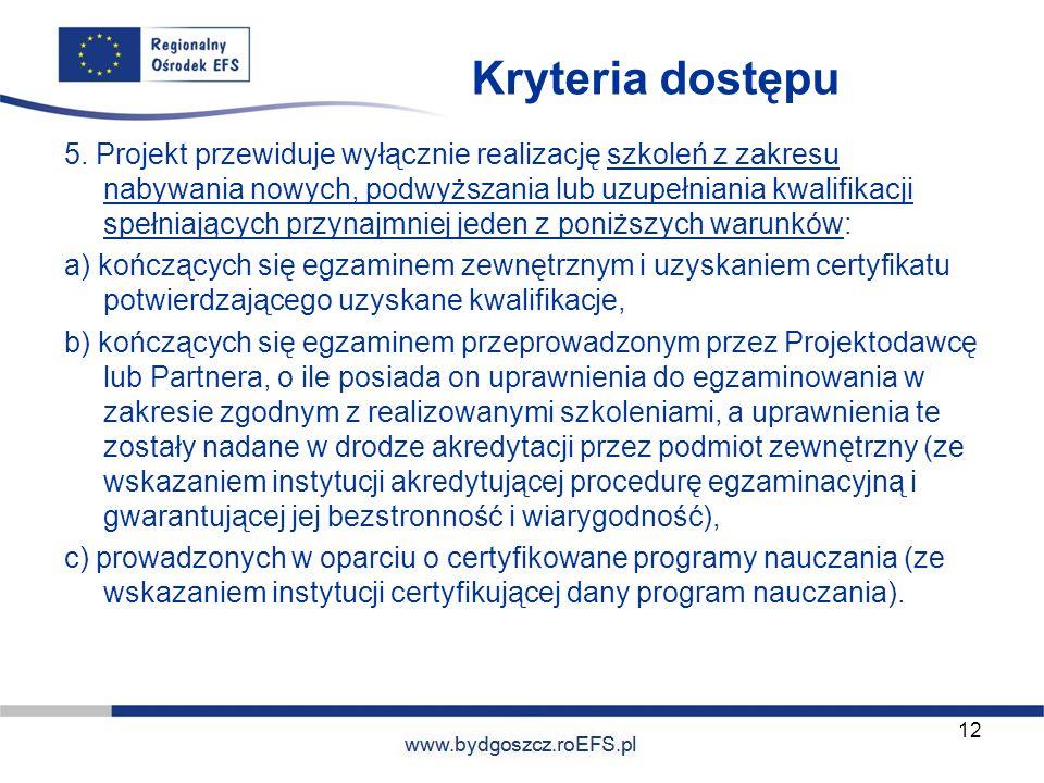 Kryteria dostępu