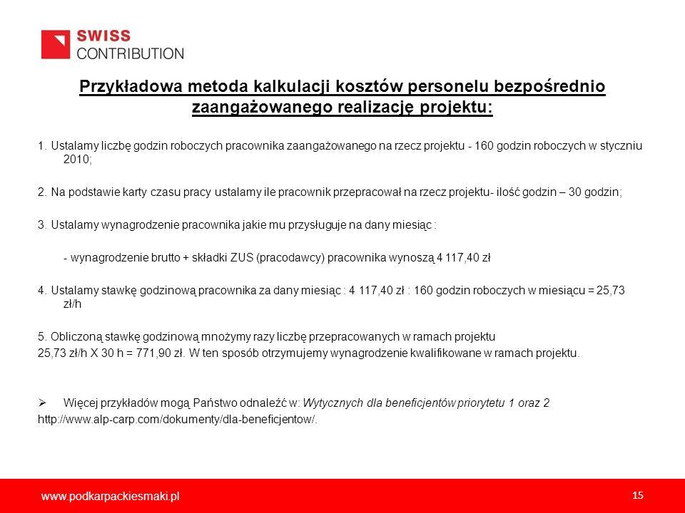 2012-12-05 Przykładowa metoda kalkulacji kosztów personelu bezpośrednio zaangażowanego realizację projektu: