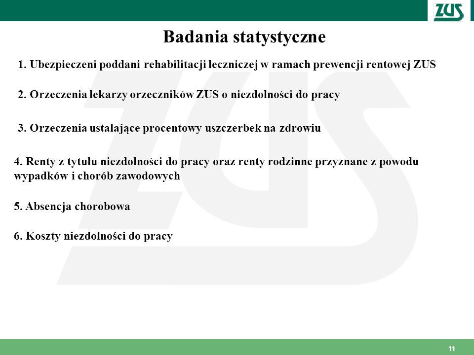 Badania statystyczne 1. Ubezpieczeni poddani rehabilitacji leczniczej w ramach prewencji rentowej ZUS.