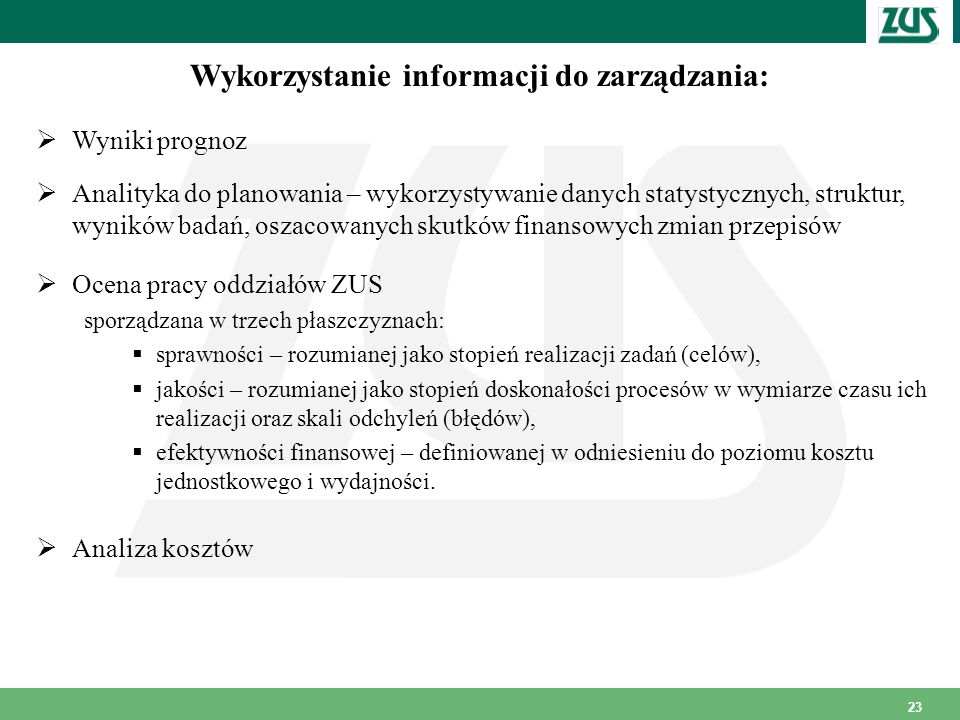 Wykorzystanie informacji do zarządzania: