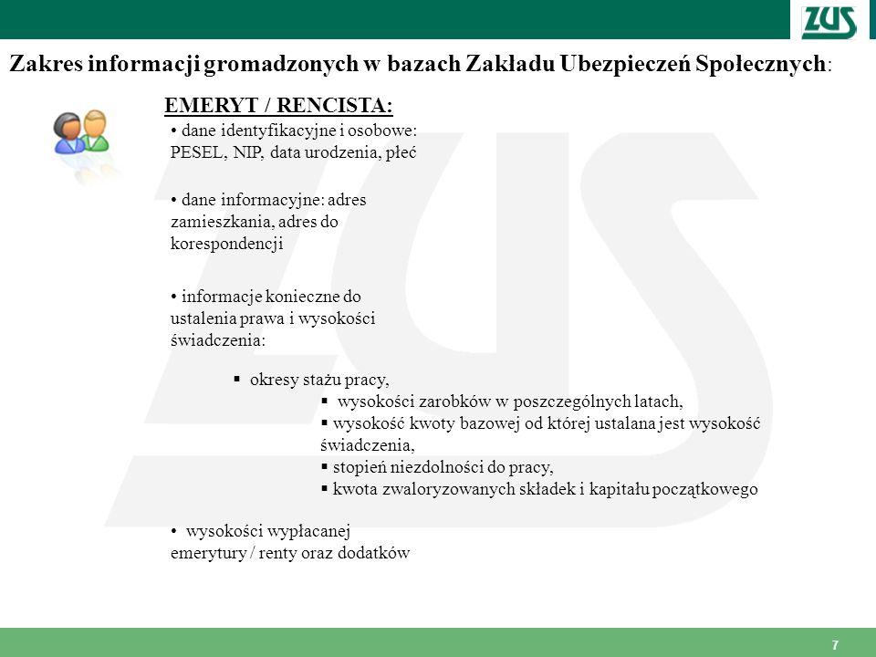Zakres informacji gromadzonych w bazach Zakładu Ubezpieczeń Społecznych: