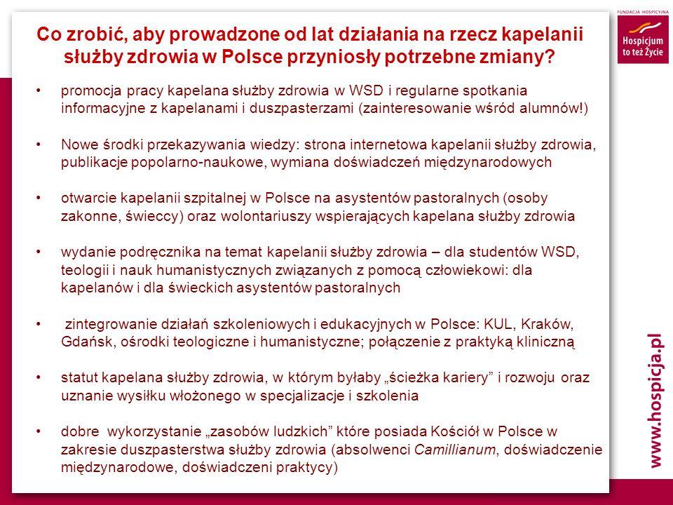 Co zrobić, aby prowadzone od lat działania na rzecz kapelanii służby zdrowia w Polsce przyniosły potrzebne zmiany