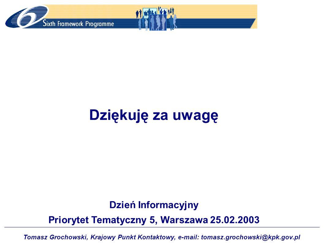 Priorytet Tematyczny 5, Warszawa 25.02.2003