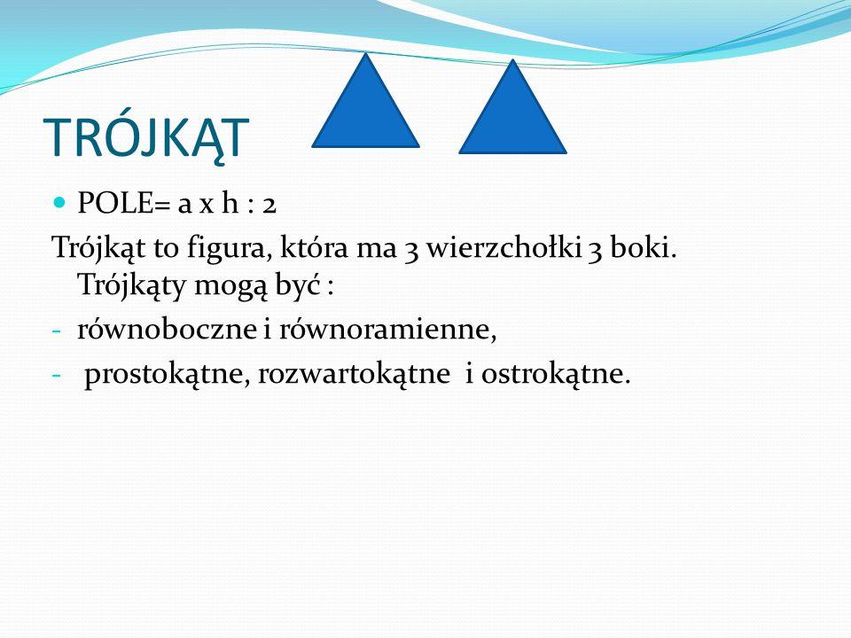 TRÓJKĄT POLE= a x h : 2. Trójkąt to figura, która ma 3 wierzchołki 3 boki. Trójkąty mogą być : równoboczne i równoramienne,