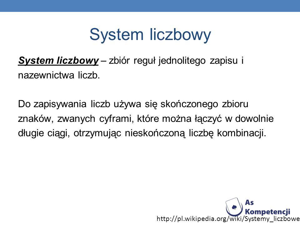System liczbowy System liczbowy – zbiór reguł jednolitego zapisu i