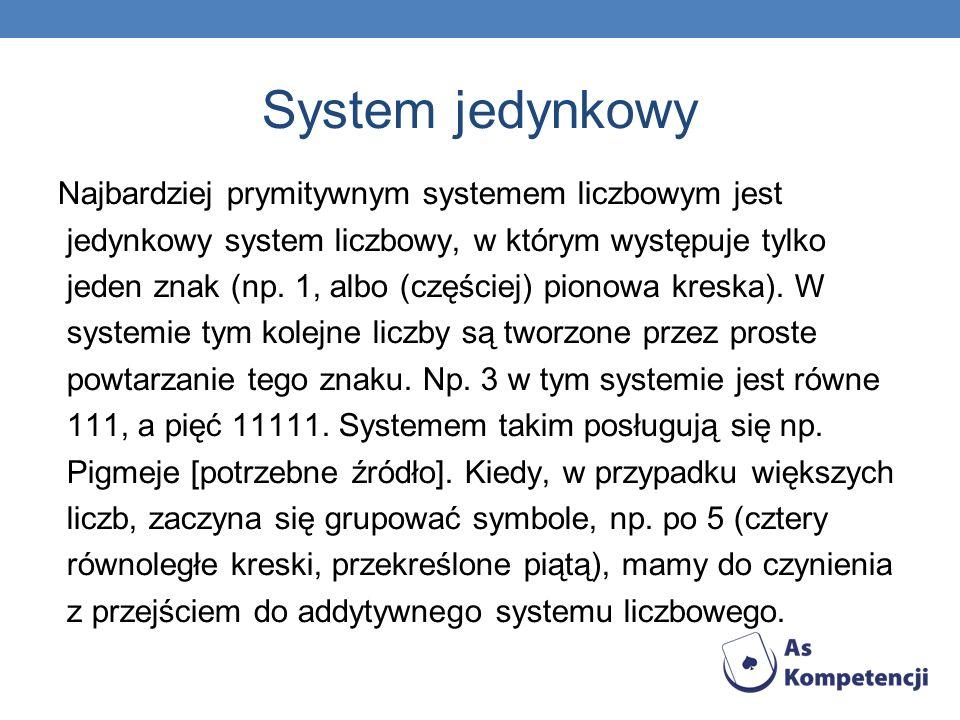 System jedynkowy Najbardziej prymitywnym systemem liczbowym jest