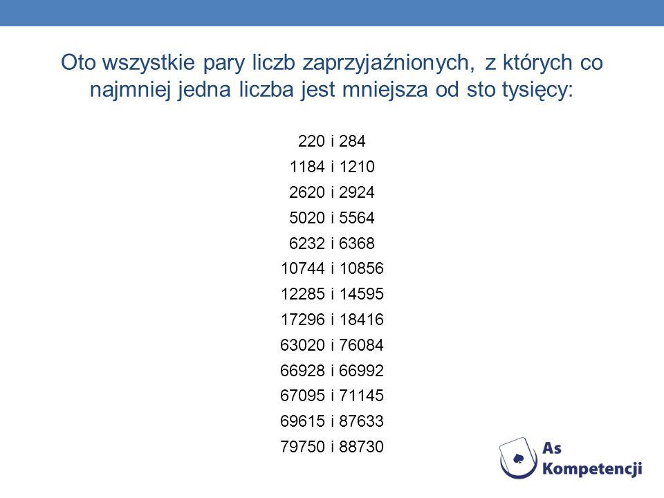 Oto wszystkie pary liczb zaprzyjaźnionych, z których co najmniej jedna liczba jest mniejsza od sto tysięcy: