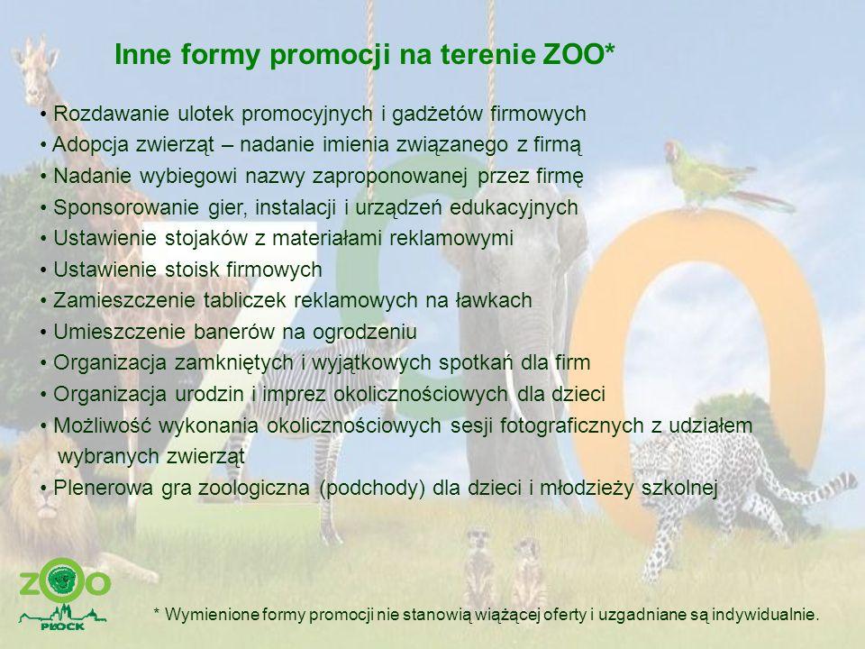 Inne formy promocji na terenie ZOO*