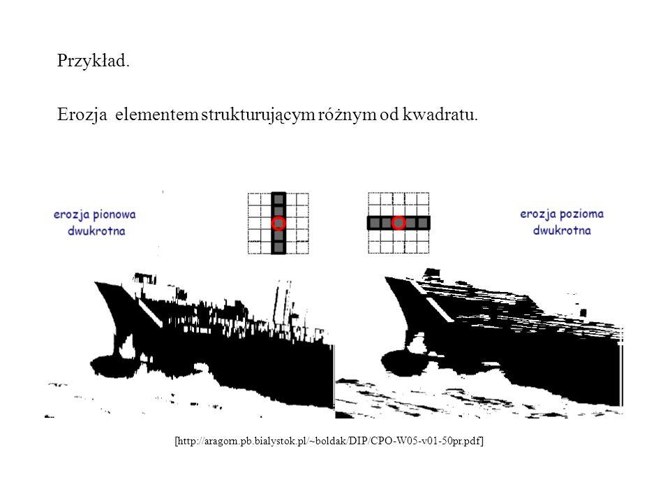Erozja elementem strukturującym różnym od kwadratu.