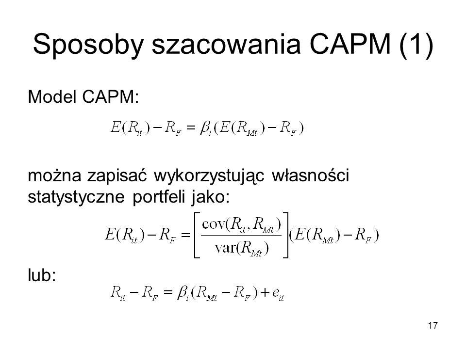 Sposoby szacowania CAPM (1)