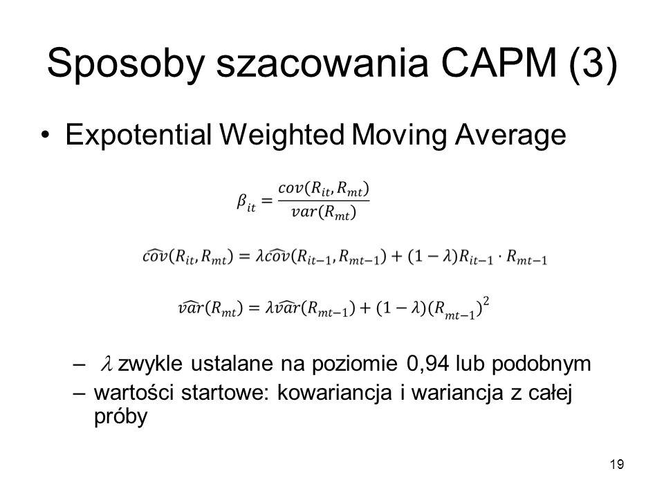 Sposoby szacowania CAPM (3)