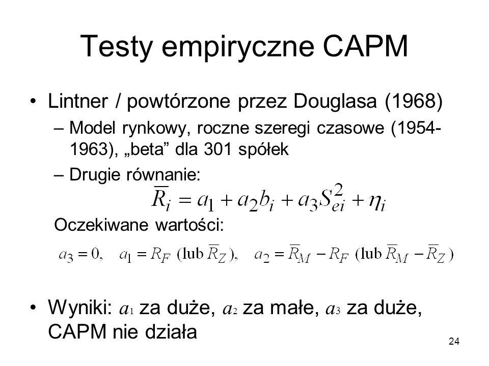 Testy empiryczne CAPM Lintner / powtórzone przez Douglasa (1968)