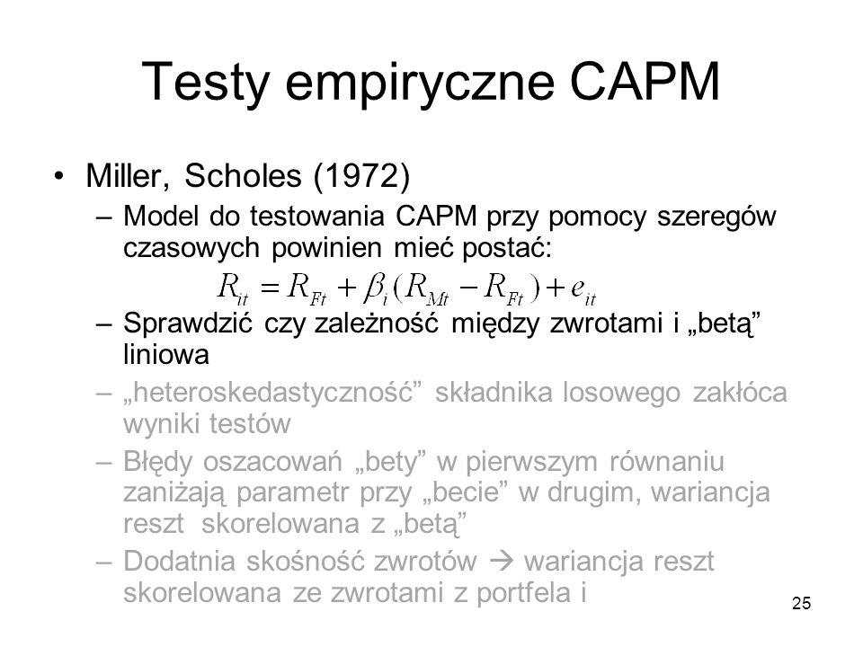 Testy empiryczne CAPM Miller, Scholes (1972)