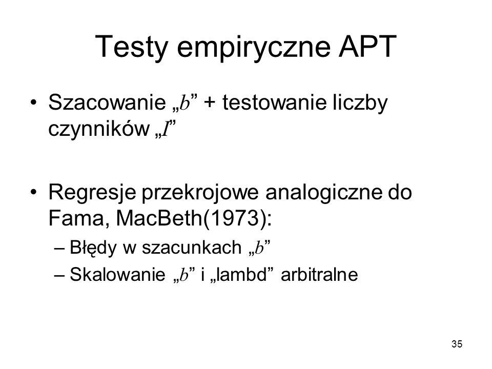 """Testy empiryczne APT Szacowanie """"b + testowanie liczby czynników """"I"""