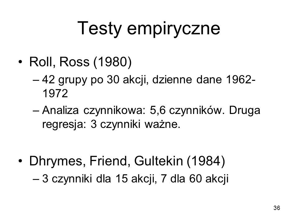 Testy empiryczne Roll, Ross (1980) Dhrymes, Friend, Gultekin (1984)