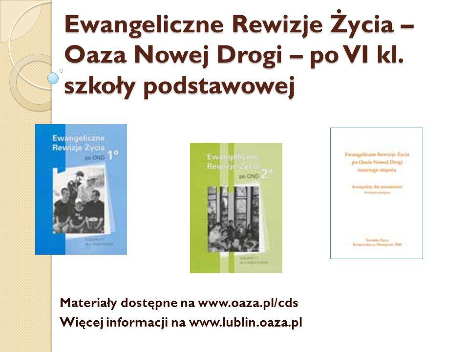 Ewangeliczne Rewizje Życia – Oaza Nowej Drogi – po VI kl
