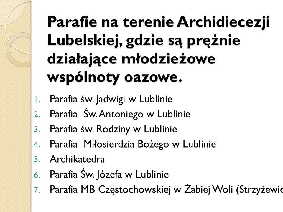 Parafie na terenie Archidiecezji Lubelskiej, gdzie są prężnie działające młodzieżowe wspólnoty oazowe.