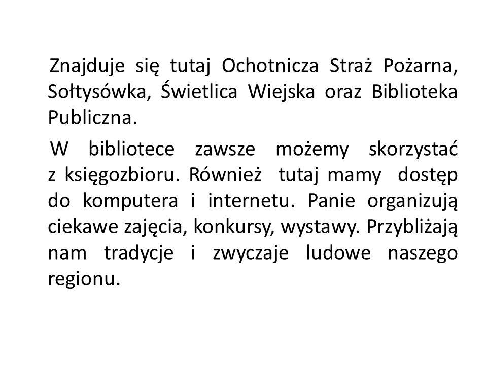 Znajduje się tutaj Ochotnicza Straż Pożarna, Sołtysówka, Świetlica Wiejska oraz Biblioteka Publiczna.