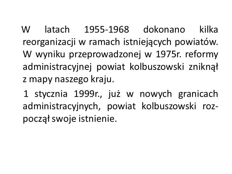 W latach 1955-1968 dokonano kilka reorganizacji w ramach istniejących powiatów. W wyniku przeprowadzonej w 1975r. reformy administracyjnej powiat kolbuszowski zniknął z mapy naszego kraju.