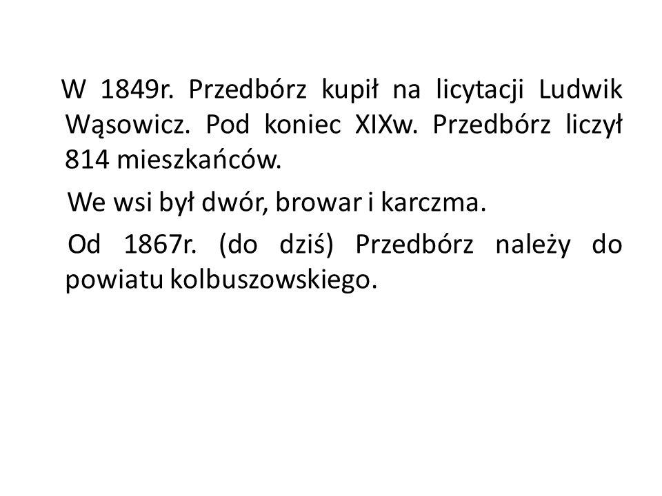 W 1849r. Przedbórz kupił na licytacji Ludwik Wąsowicz. Pod koniec XIXw