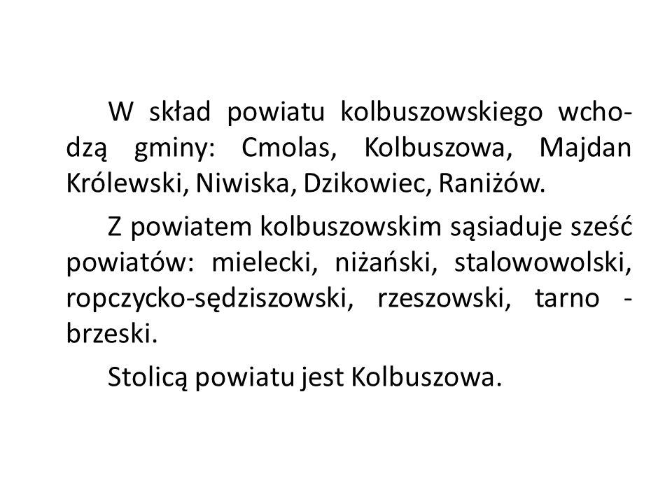 W skład powiatu kolbuszowskiego wcho- dzą gminy: Cmolas, Kolbuszowa, Majdan Królewski, Niwiska, Dzikowiec, Raniżów.