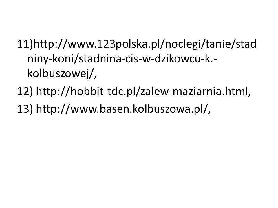 11)http://www.123polska.pl/noclegi/tanie/stadniny-koni/stadnina-cis-w-dzikowcu-k.-kolbuszowej/, 12) http://hobbit-tdc.pl/zalew-maziarnia.html, 13) http://www.basen.kolbuszowa.pl/,