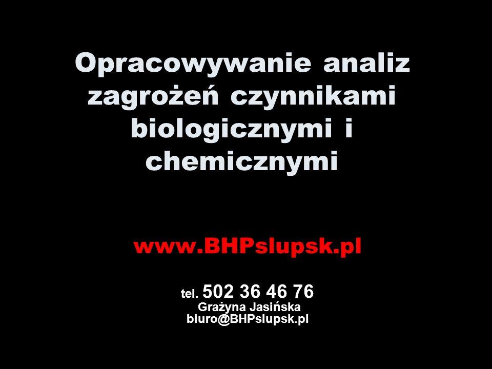 Opracowywanie analiz zagrożeń czynnikami biologicznymi i chemicznymi