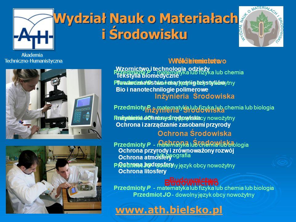 Wydział Nauk o Materiałach Inżynieria Środowiska Inżynieria Środowiska