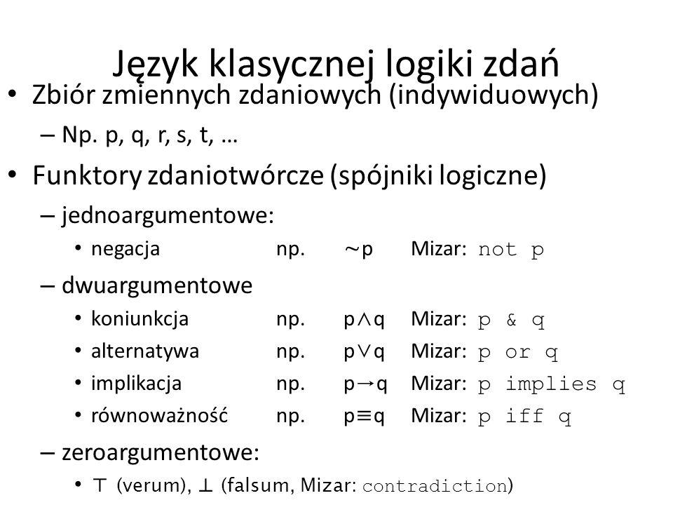 Język klasycznej logiki zdań