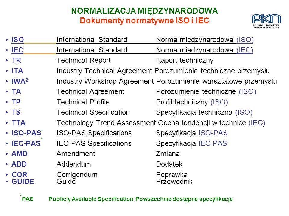NORMALIZACJA MIĘDZYNARODOWA Dokumenty normatywne ISO i IEC