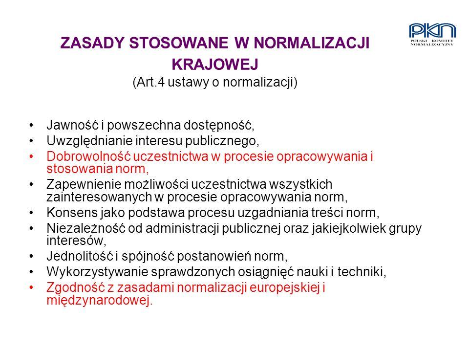 ZASADY STOSOWANE W NORMALIZACJI KRAJOWEJ (Art.4 ustawy o normalizacji)