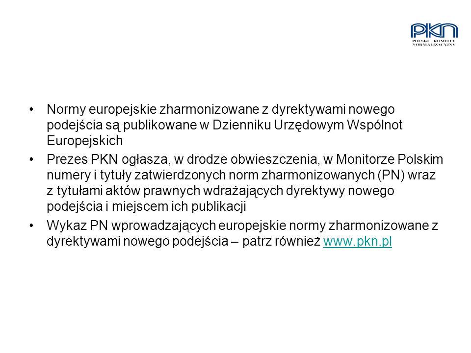 Normy europejskie zharmonizowane z dyrektywami nowego podejścia są publikowane w Dzienniku Urzędowym Wspólnot Europejskich