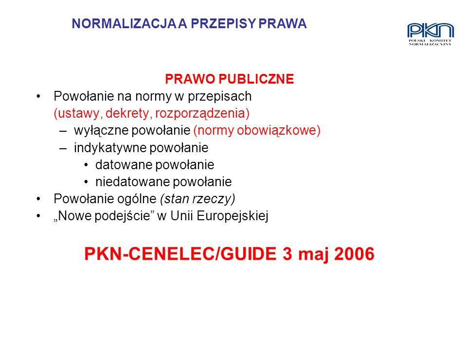 NORMALIZACJA A PRZEPISY PRAWA PKN-CENELEC/GUIDE 3 maj 2006