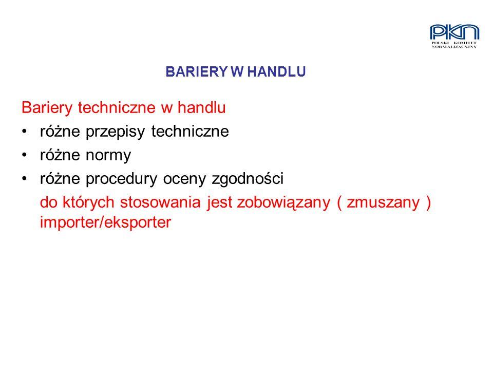 Bariery techniczne w handlu różne przepisy techniczne różne normy