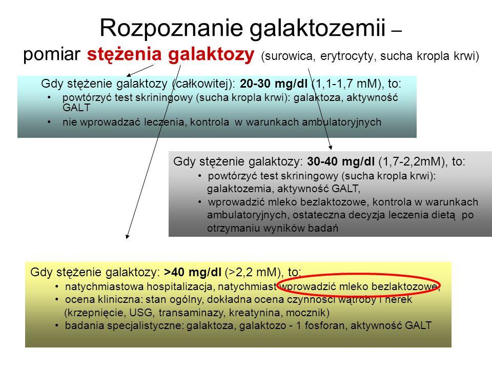 Rozpoznanie galaktozemii – pomiar stężenia galaktozy (surowica, erytrocyty, sucha kropla krwi)