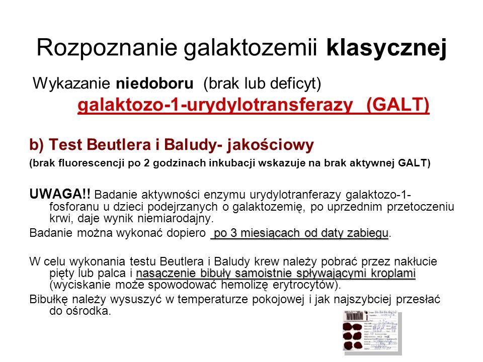 Rozpoznanie galaktozemii klasycznej