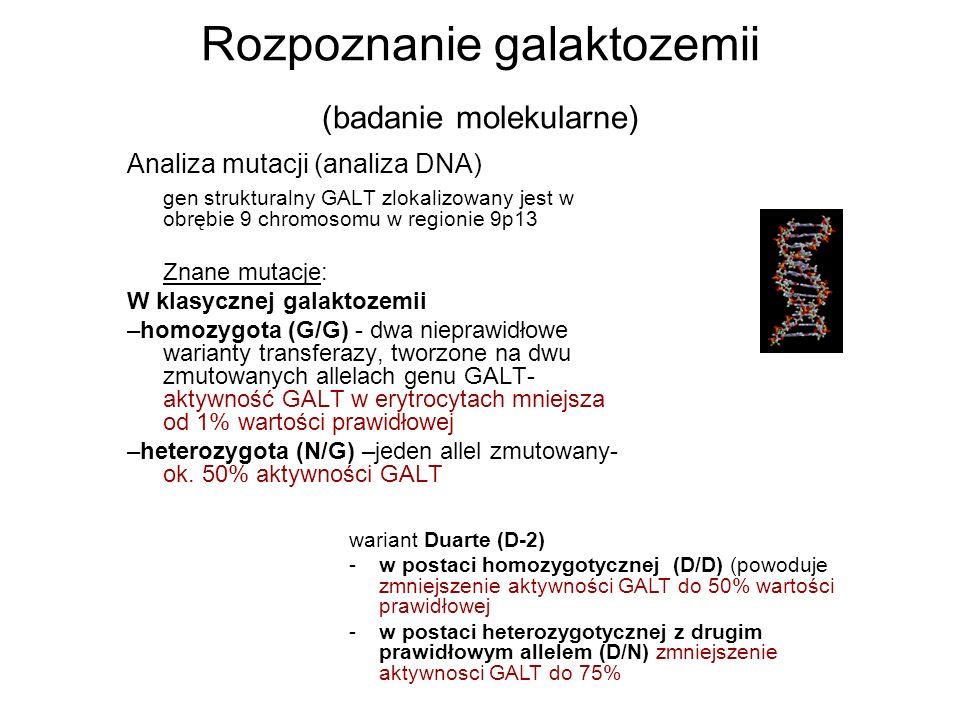 Rozpoznanie galaktozemii (badanie molekularne)