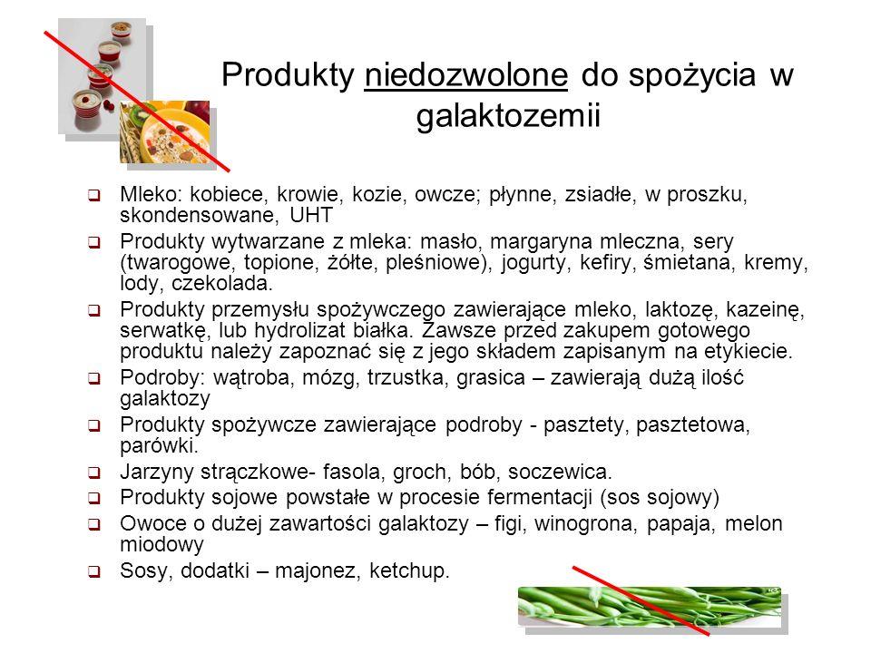 Produkty niedozwolone do spożycia w galaktozemii